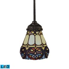 Mix-N-Match 1 Light Led Pendant In Tiffany Bronze And Multicolor Glass