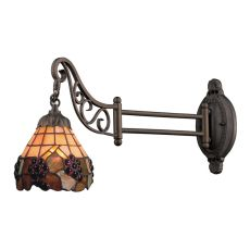 Mix-N-Match 1 Light Swingarm In Vintage Antique With Stained Glass