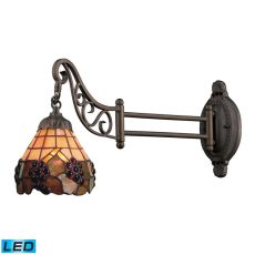 Mix-N-Match 1 Light Led Swingarm In Vintage Antique With Stained Glass