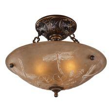 Restoration Flushes 3 Light Semi Flush In Antique Golden Bronze