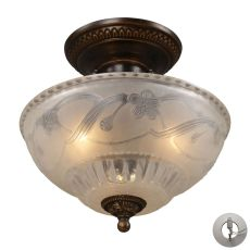 Restoration Flushes 3 Light Semi Flush In Antique Golden Bronze - Includes Recessed Lighting Kit