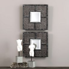 Gaiana Bronze Square Mirrors S/2