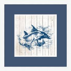 Dolphins on White Planks High Quality Giclee Print Wood Frame