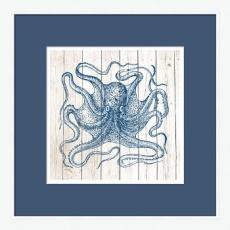 Octopus on White Planks High Quality Giclee Print Wood Frame