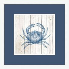 Crab on White Planks High Quality Giclee Print Wood Frame
