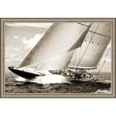 Endeavor II Giclee Yacht  Print in Wood Frame