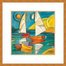 Bateaux Giclee Print in Wood Frame