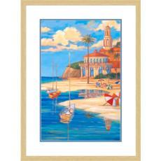 BEACH CLUB II Giclee Print in Wood Frame
