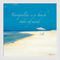 Beach Tranquility on White Planks High Quality Giclee Print Wood Frame