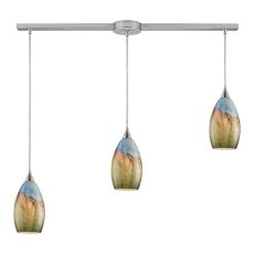 Geologic 3 Led Light Pendant In Satin Nickel And Multicolor Glass