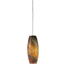 Vortex 1 Light Pendant In Satin Nickel And Rainbow Glass