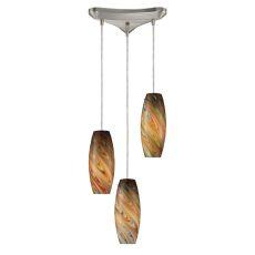 Vortex 3 Light Pendant In Satin Nickel And Rainbow Glass