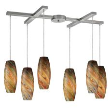Vortex 6 Light Pendant In Satin Nickel And Rainbow Glass