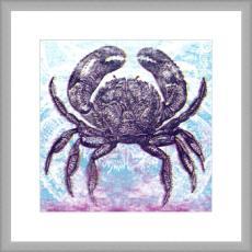 Charcoal Crab Giclee Print in Wood Frame