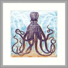 Charcoal Octopus Giclee Print in Wood Frame