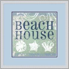 Beach Sign I Giclee Print in Wood Frame