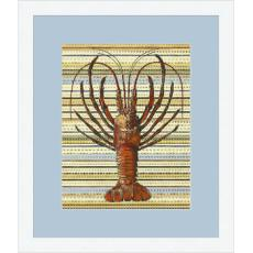 Lobster Stripes Giclee Print in Wood Frame