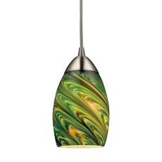 Mini Vortex 1 Light Led Pendant In Satin Nickel And Evergreen Glass