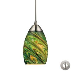 Mini Vortex 1 Light Pendant In Satin Nickel And Evergreen Glass - Includes Recessed Lighting Kit
