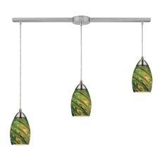 Mini Vortex 3 Light Pendant In Satin Nickel And Evergreen Glass