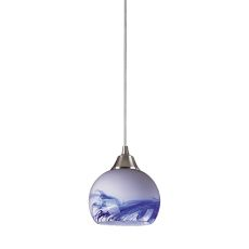 Mela 1 Light Led Pendant In Satin Nickel And Mountain Glass