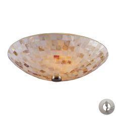 Capri 2 Light Semi Flush In Satin Nickel - Includes Recessed Lighting Kit