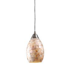Capri 1 Light Pendant In Satin Nickel And Capiz Shell