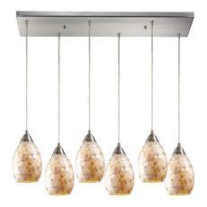 Capri 6 Led Light Pendant In Satin Nickel And Capiz Shell