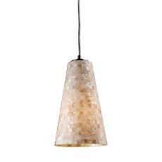 Capri 1 Light Led Pendant In Satin Nickel And Capiz Shell