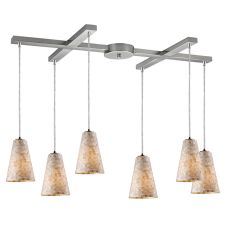 Capri 6 Light Pendant In Satin Nickel And Capiz Shell
