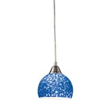 Cira 1 Light Led Pendant In Satin Nickel With Pebbled Blue Glass
