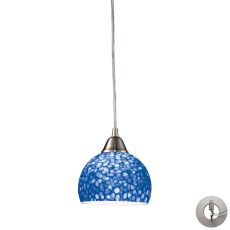 Cira 1 Light Pendant In Satin Nickel With Pebbled Blue Glass - Includes Recessed Lighting Kit