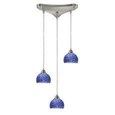 Cira 3 Light Pendant In Satin Nickel With Pebbled Blue Glass