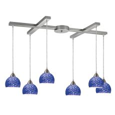 Cira 6 Led Light Pendant In Satin Nickel With Pebbled Blue Glass