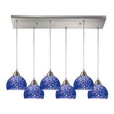 Cira 6 Led Light Pendant In Satin Nickel And Pebbled Blue Glass