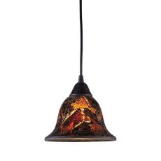 Firestorm 1 Light Pendant In Dark Rust And Firestorm Crackle Glass