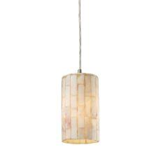 Coletta 1 Light Led Pendant In Satin Nickel And Genuine Stone