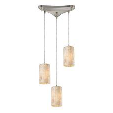 Coletta 3 Led Light Pendant In Satin Nickel And Genuine Stone
