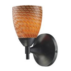 Celina 1 Light Sconce In Dark Rust And Cocoa Glass