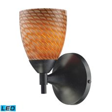 Celina 1 Light Led Sconce In Dark Rust And Cocoa Glass