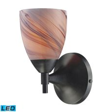 Celina 1 Light Led Sconce In Dark Rust And Creme Glass