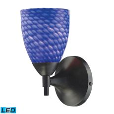 Celina 1 Light Led Sconce In Dark Rust And Sapphire Glass