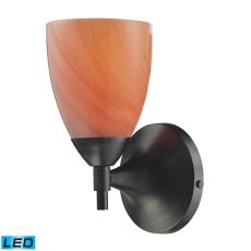 Celina 1 Light Led Sconce In Dark Rust And Sandy Glass
