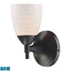 Celina 1 Light Sconce In Dark Rust And White Swirl Glass
