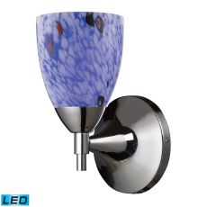 Celina 1 Light Led Sconce In Polished Chrome And Starburst Blue Glass