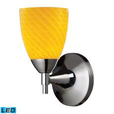 Celina 1 Light Led Sconce In Polished Chrome And Canary Glass