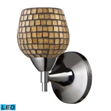 Celina 1 Light Led Sconce In Polished Chrome And Gold Glass