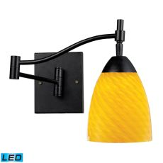Celina 1 Light Led Swingarm Sconce In Dark Rust And Canary Glass
