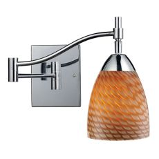 Celina 1 Light Swingarm Sconce In Polished Chrome And Cocoa Glass