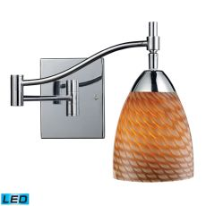 Celina 1 Light Led Swingarm Sconce In Polished Chrome And Cocoa Glass